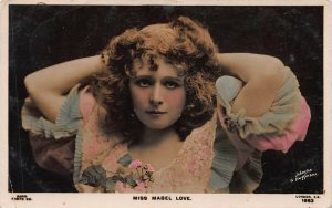 Mabel Love, English Actress, Early Hand Painted Real Photo Postcard, Used