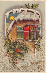 Christmas Tree In Upstairs Window~Red Glow~Icy Keyhole~Full Moon~Emboss~MAB