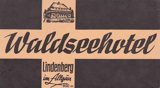 GERMANY LINDENBERG WALDSEEHOTEL VINTAGE LUGGAGE LABEL