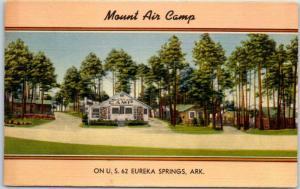 Eureka Springs, Arkansas Postcard MOUNT AIR CAMP Motel Highway 62 Roadside Linen