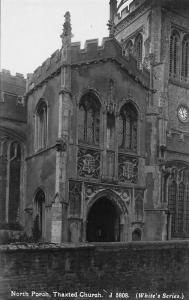 THAXTED ESSEX ENGLAND-NORTH PORCH-THAXTED CHURCH-WHITE'S SERIES NORVIC POSTCARD