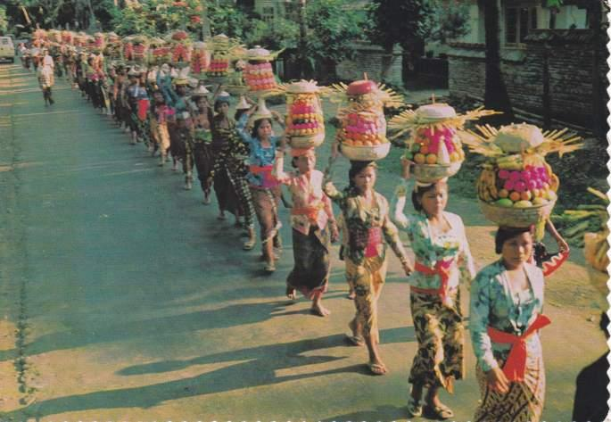 Balinese Women carrying Offerings to the Temple - Bali, Indonesia