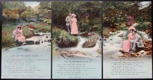 JUST AS THE BROOK FLOWS Bamforth & Co Song Cards set of 3 No 4568/1/2/3