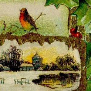 1910 Christmas Greetings Birds Holly Gold Winter Scenery Germany Embossed