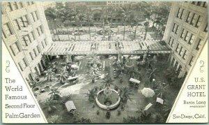 1934 San Diego, California Postcard U.S. GRANT HOTEL World Famous Palm Garden