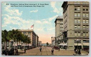 San Diego California~Policeman on Broadway~US Grant Hotel~Plaza Park~c1910