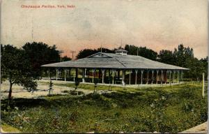 York Nebraska~Tiny Protected Trees in Line by Chautauqua Pavilion~Cupola~1909 PC