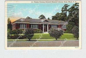 PPC POSTCARD NC NORTH CAROLINA ROCKY MOUNT THOMAS HACKNEY BRASWELL MEMORIAL LIBR