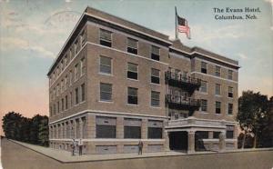 Nebraska Columbus The Evans Hotel 1914 Curteich