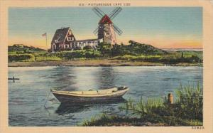 Massachusetts Cape Cpd PIcturesque Scene With Wind Mill 1947