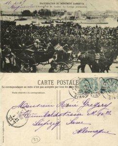 france, BORDEAUX, Inauguration du Monument Gambeta (1905) Postcard