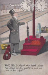 Humour Man Standing On Train Paltform Looking At Clock Bamforth No 1249