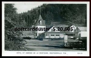 605- ROUTHIERVILLE Que 1950s Hotel et Cabins de la Montagne. Real Photo Postcard