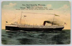 Great Lakes Steamer~Steel Steamship Minnesota~Crosby Line~Chicago~Buffalo~1913