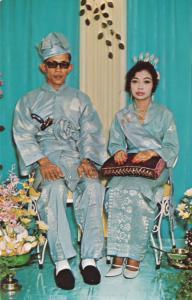 Malay Wedding Singapore 1960s Postcard
