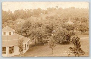 Manistee MI~Orchard Beach Park~Folks in Pavilion~Children's Playground~1910 RPPC