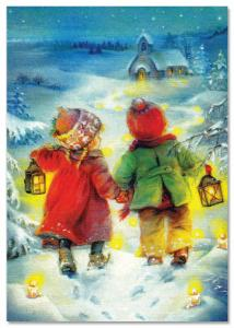 Little Girl & Boy with lamp go to church Xmas by Lisi Martin NEW postcard