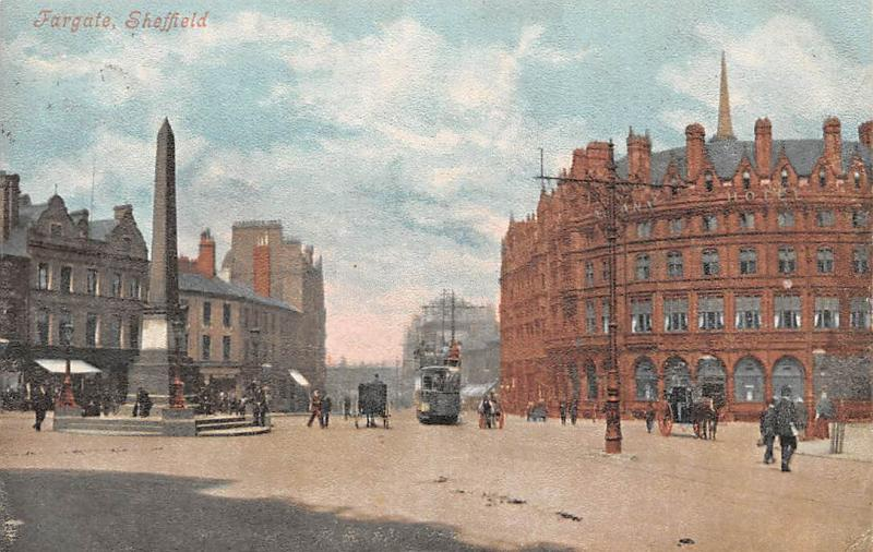 Fargate Sheffield Monument, Carriages, Tram, Yorkshire 1905