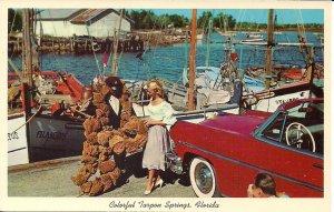 Tarpon Springs FL, Beautiful Woman at Sponge Dock, Great Old Car, Camera 1960's