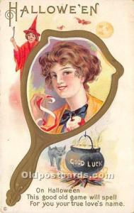 Halloween Postcard Old Vintage Post Card Halloween Mirro, Witch, Black Cat wr...
