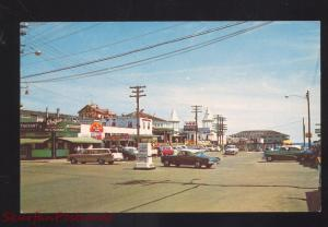 OLD ORCHARD BEACH MAINE DOWNTOWN STREET SCENE 1950's CARS VINTAGE POSTCARD