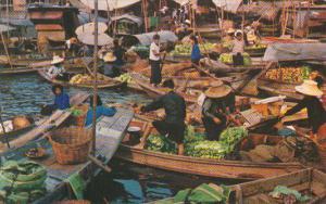 Thailand Bangkok Floating Market Scene