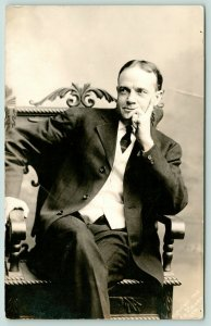 Billy Sunday in Carved Armchair~Thinking Man~Tale on Back~c1920 CU Williams RPPC