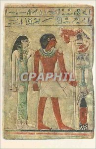 Old Postcard Stela of dedu and His Wife Sit Sobk Painted Limestone Egyptian M...