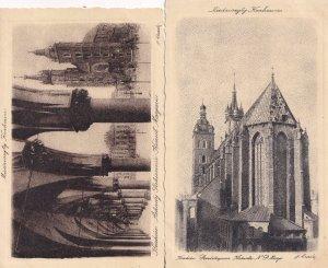 Krakow 2x Antique Miedzioryt Polish Postcard s