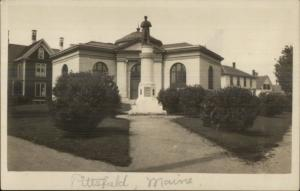 Pittsfield ME - Library? & Monument c1910 Real Photo Postcard