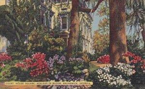 Court House Square Azaleas In Bloom Brunswick Georgia 1951