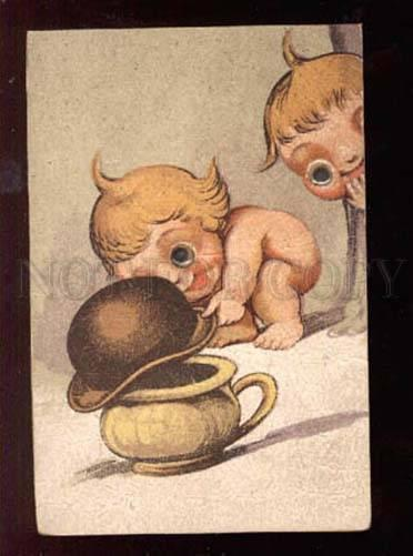 028911 NUDE BABIES w/ Moving eyes w/ POT Vintage PC