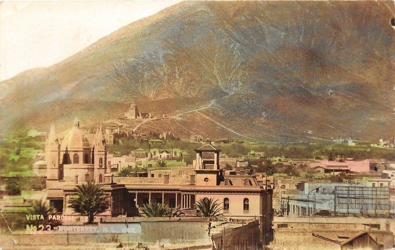 G42/ Foreign RPPC Postcard Monterrey Mexico 1941 Colored Vista View Church