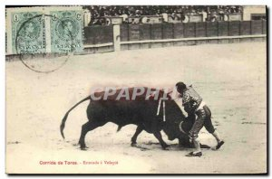 Old Postcard Bullfight Bullfight estocada has Volapie