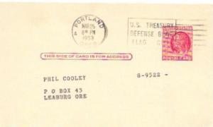 Postcard used. Two cent Franklin. 1953 Mailed from Portland.