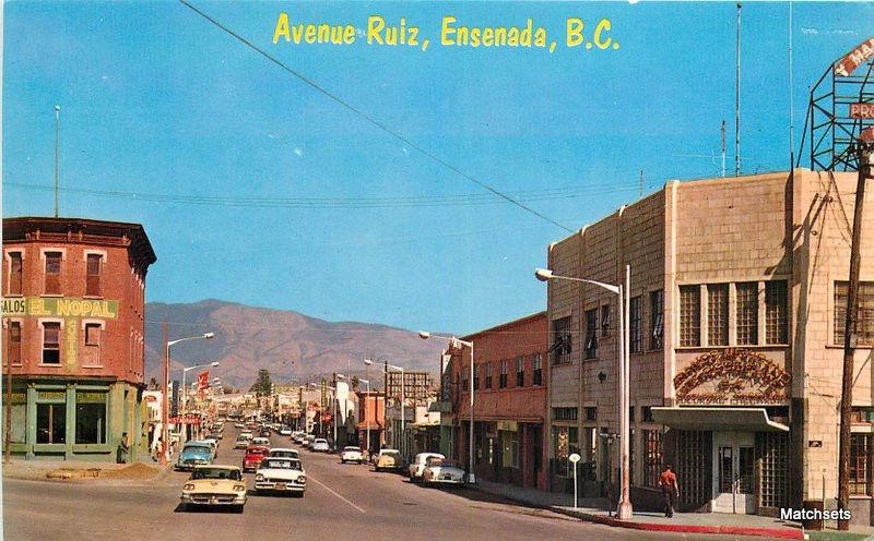 Automobiles Avenue Ruiz ENSENADA BC MEXICO postcard 12059