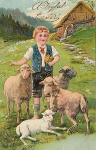 EASTER, PU-1907; Shepard with his sheep, Gold detail, PFB 6733
