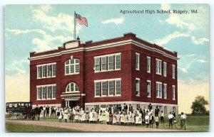Postcard MD Ridgley Pre 1920's View Agricultural High School D17