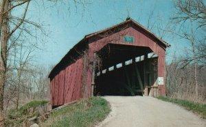 Putnam County, IN, Cornstalk Covered Bridge, Chrome Vintage Postcard g8326