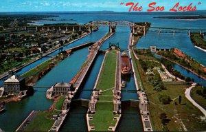 Michigan Sault Ste Marie Soo Locks Aerial View
