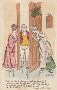 AS: LEWIN, 1900-10s; NEW YEAR, Ladies letting heavy set bald man in, Dickens