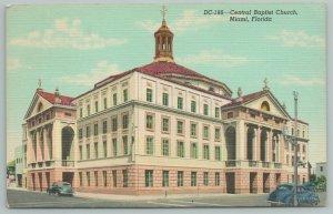 Miami Florida~Central Baptist Church Front View~Vintage Postcard