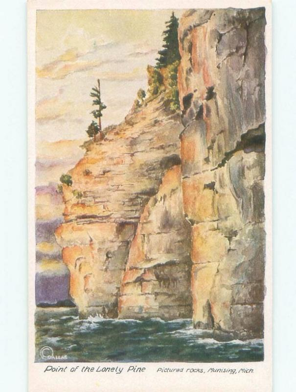 Unused 1940's PICTURED ROCKS ON POINT OF LONELY PINE Munising Michigan MI E8730