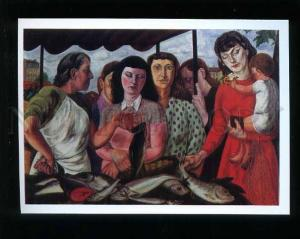 181099 Parisian market by Fougeron old postcard
