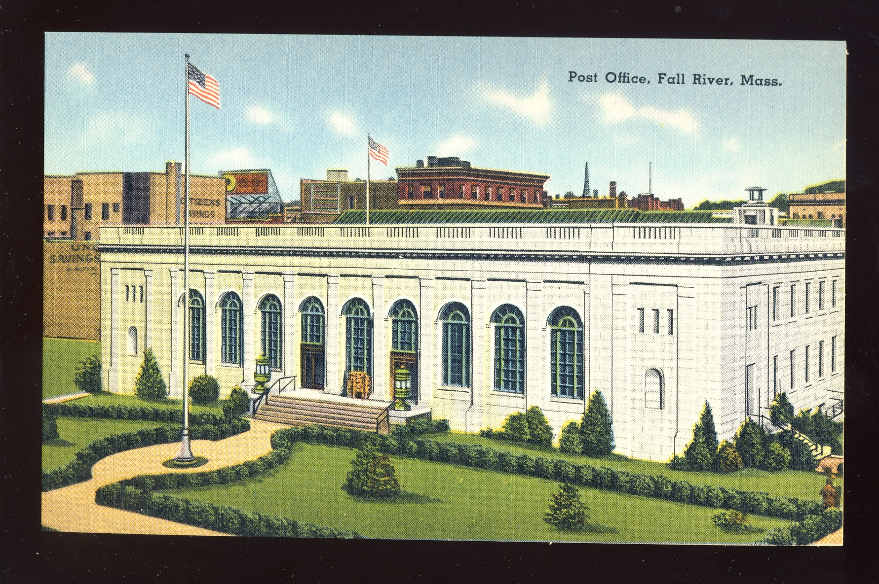 Fall River, Massachusetts/MA/Mass Postcard, Post Office, Near Mint