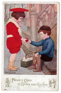 Maria Kirk Fridays Child Vntg 1907 National Art Co Postcard