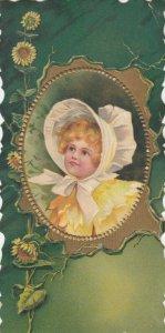 TC: portrait of girl wearing bonnet in frame, Sunflowers, C.D. Kenny Co. 1890s