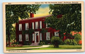 *1940s Federal Hill My Old Kentucky Home Bardstown Kentucky Vintage Postcard C09