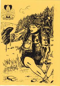Poster art Boy Scouting , Junak Tabor , Boy scout emptying shoe on a hike ,...