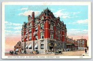 Cincinnati Ohio~Grand Central Depot~Railroad Passenger Station~1920s Postcard